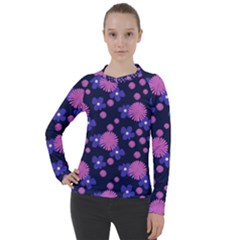 Pink And Blue Flowers Women s Pique Long Sleeve Tee