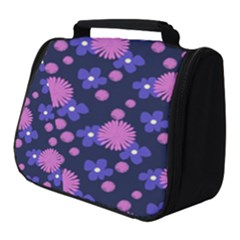 Pink And Blue Flowers Full Print Travel Pouch (small)