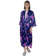 Pink And Blue Flowers Maxi Satin Kimono by bloomingvinedesign
