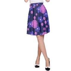 Pink And Blue Flowers A-line Skirt by bloomingvinedesign