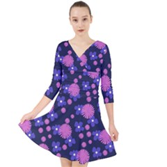 Pink And Blue Flowers Quarter Sleeve Front Wrap Dress