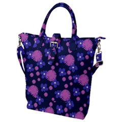Pink And Blue Flowers Buckle Top Tote Bag