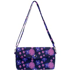 Pink And Blue Flowers Removable Strap Clutch Bag