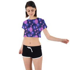 Pink And Blue Flowers Tie Back Short Sleeve Crop Tee