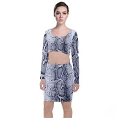 Snake Skin Long Sleeve Crop Top & Bodycon Skirt Set by 80generationsapparel