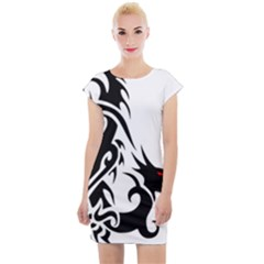 Black Dragon Animal Cap Sleeve Bodycon Dress
