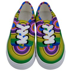 Spiral Blue Yellow Green Kids  Classic Low Top Sneakers