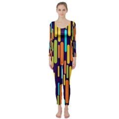 Illustration Abstract Line Long Sleeve Catsuit