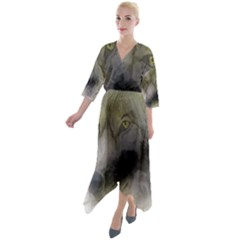 Wolf Evil Monster Quarter Sleeve Wrap Front Maxi Dress