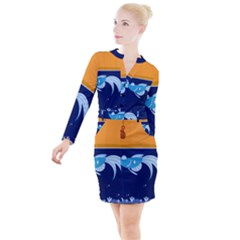 Fish Water Fisherman Button Long Sleeve Dress