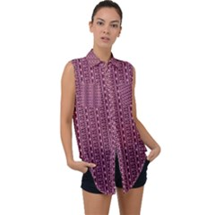 Digital Waves Sleeveless Chiffon Button Shirt