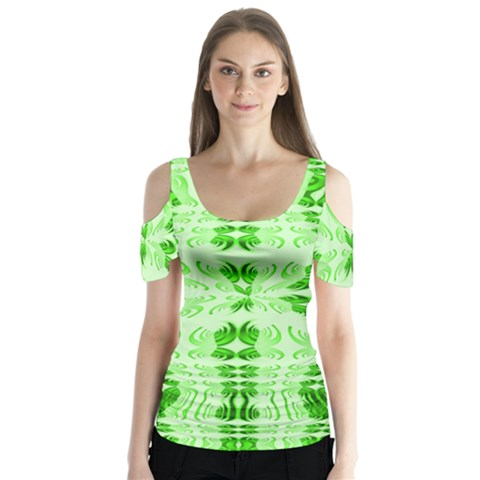 Digital Illusion Butterfly Sleeve Cutout Tee  by Sparkle