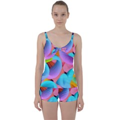 3d Color Swings Tie Front Two Piece Tankini