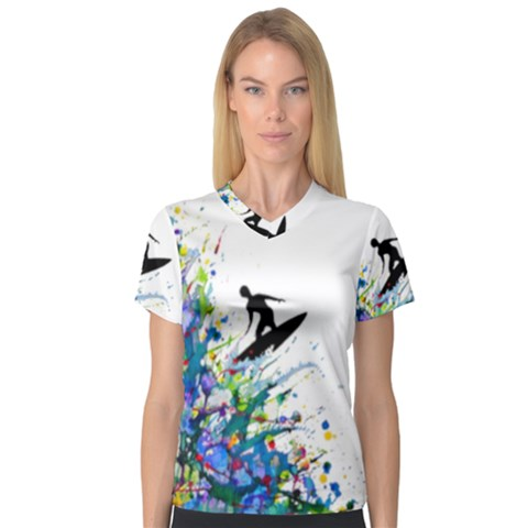 Nature Surfing V-neck Sport Mesh Tee by Sparkle