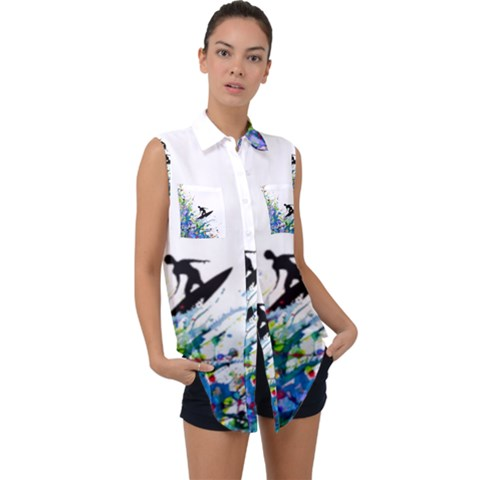 Nature Surfing Sleeveless Chiffon Button Shirt by Sparkle