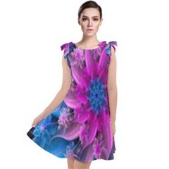 Fractal Flower Tie Up Tunic Dress
