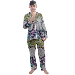 Wirldrawing Men s Long Sleeve Satin Pyjamas Set