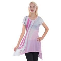 Modern Pink Short Sleeve Side Drop Tunic