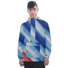 Blue White Men s Front Pocket Pullover Windbreaker by Sparkle