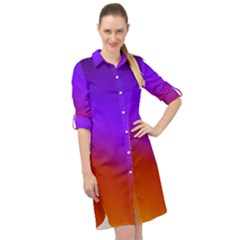 Violet Orange Long Sleeve Mini Shirt Dress