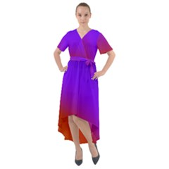 Violet Orange Front Wrap High Low Dress