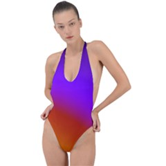 Violet Orange Backless Halter One Piece Swimsuit by Sparkle