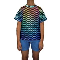 Digital Waves Kids  Short Sleeve Swimwear by Sparkle