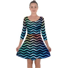 Digital Waves Quarter Sleeve Skater Dress