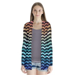 Digital Waves Drape Collar Cardigan