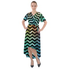 Digital Waves Front Wrap High Low Dress