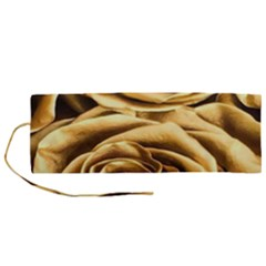 Gold Roses Roll Up Canvas Pencil Holder (m)