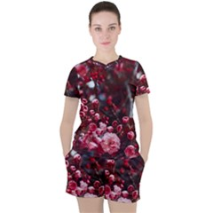Red Floral Women s Tee And Shorts Set