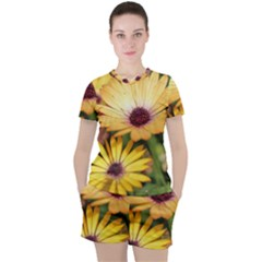 Yellow Flowers Women s Tee And Shorts Set