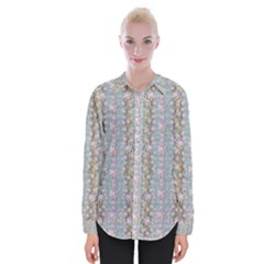 Summer Florals In The Sea Pond Decorative Womens Long Sleeve Shirt