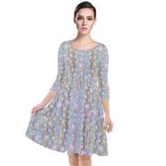 Summer Florals In The Sea Pond Decorative Quarter Sleeve Waist Band Dress