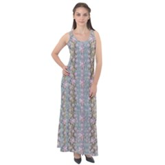 Summer Florals In The Sea Pond Decorative Sleeveless Velour Maxi Dress