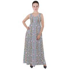 Summer Florals In The Sea Pond Decorative Empire Waist Velour Maxi Dress