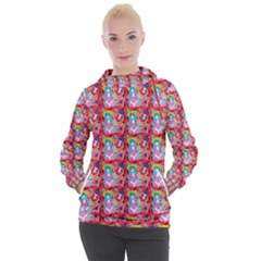 Blue Haired Girl Pattern Red Women s Hooded Pullover