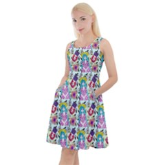 Blue Haired Girl Pattern Blue Knee Length Skater Dress With Pockets