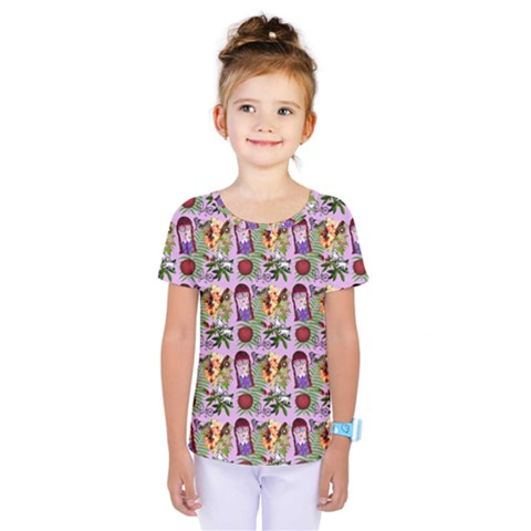 Purple Glasses Girl Pattern Lilac Kids  One Piece Tee by snowwhitegirl