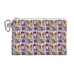 Purple Glasses Girl Pattern Lilac Canvas Cosmetic Bag (large) by snowwhitegirl