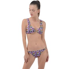 Purple Glasses Girl Pattern Lilac Ring Detail Crop Bikini Set