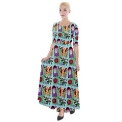 Purple Glasses Girl Pattern Blue Half Sleeves Maxi Dress by snowwhitegirl