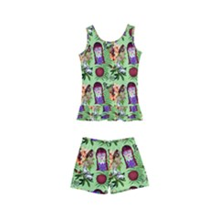 Purple Glasses Girl Pattern Green Kids  Boyleg Swimsuit by snowwhitegirl