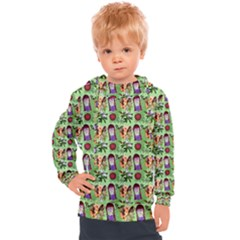 Purple Glasses Girl Pattern Green Kids  Hooded Pullover by snowwhitegirl