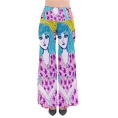 Blue Haired Girl Wall So Vintage Palazzo Pants by snowwhitegirl