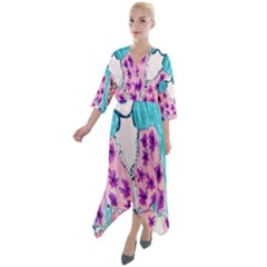 Blue Haired Girl Wall Quarter Sleeve Wrap Front Maxi Dress by snowwhitegirl