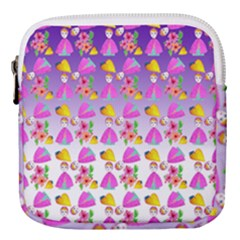 Girl With Hood Cape Heart Lemon Patternpurple Ombre Mini Square Pouch