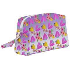 Girl With Hood Cape Heart Lemon Patternpurple Ombre Wristlet Pouch Bag (large) by snowwhitegirl