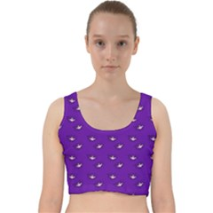 Zodiac Bat Pink Purple Velvet Racer Back Crop Top